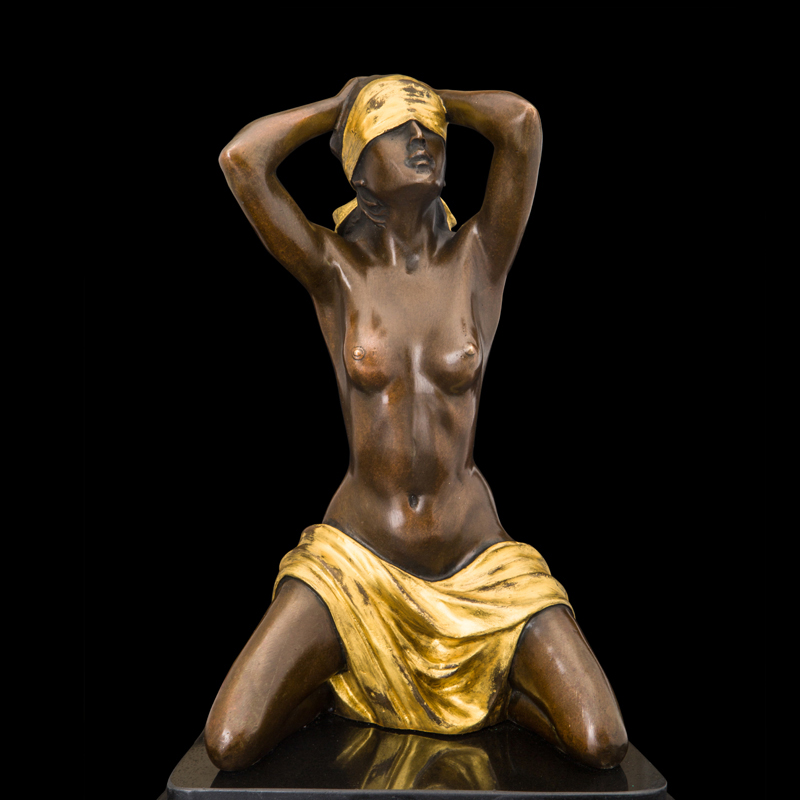 ATLIE BRONZES Sexy Half-naked Blindfolded  Girl Bronze  Statue Nude Woman Figurine  Home Bar Decoration