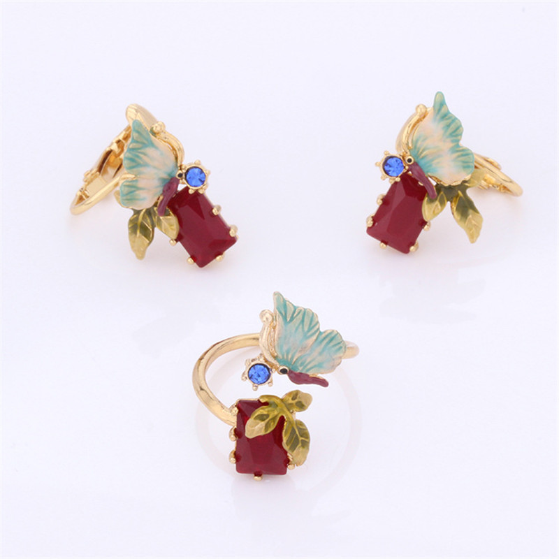 French Jewelry Enamel Glaze Paris Insect Series Trendy Butterfly Flower Red Gem Ring Women Earrings For Party