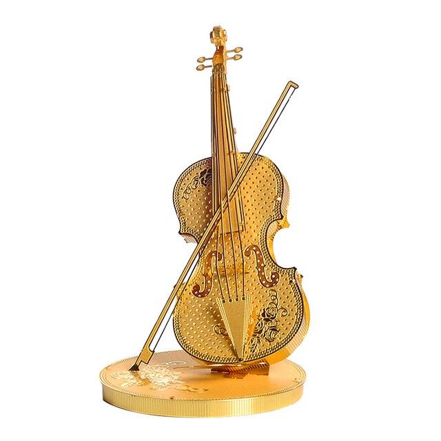 Piececool Violino P023-G DIY Enigma Modelo de Corte A Laser 3D Puzzle Brinquedos de Montagem de Metal Violino Para Crianças Presentes