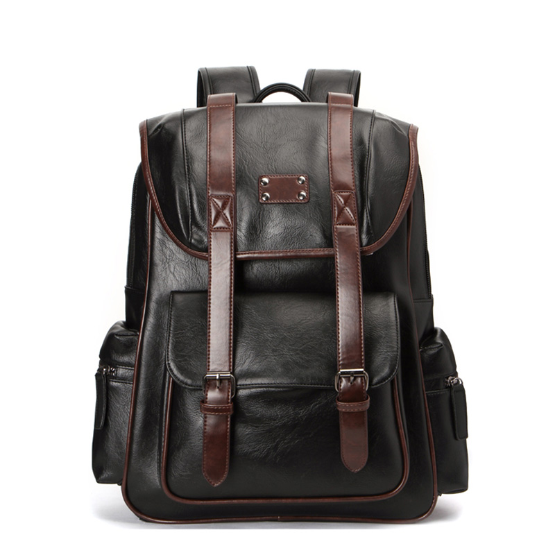 Men's Bags Creative Fashion 15.6 Inches Men Backpack Brown Pu Leather Travel Bags Large Capacity School Backpack For Male Waterproof Business Bag Fragrant Aroma Luggage & Bags