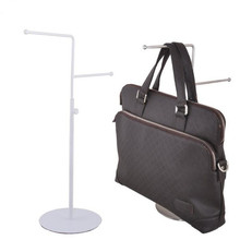 High/low style stainless steel tie scarf display rack men/womens handbag holder adjustable wig purse showing stand
