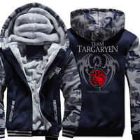 A Song Of Ice And Fire Print Hoodies For Male 2018 Thick Zipped Sweatshrit For Men