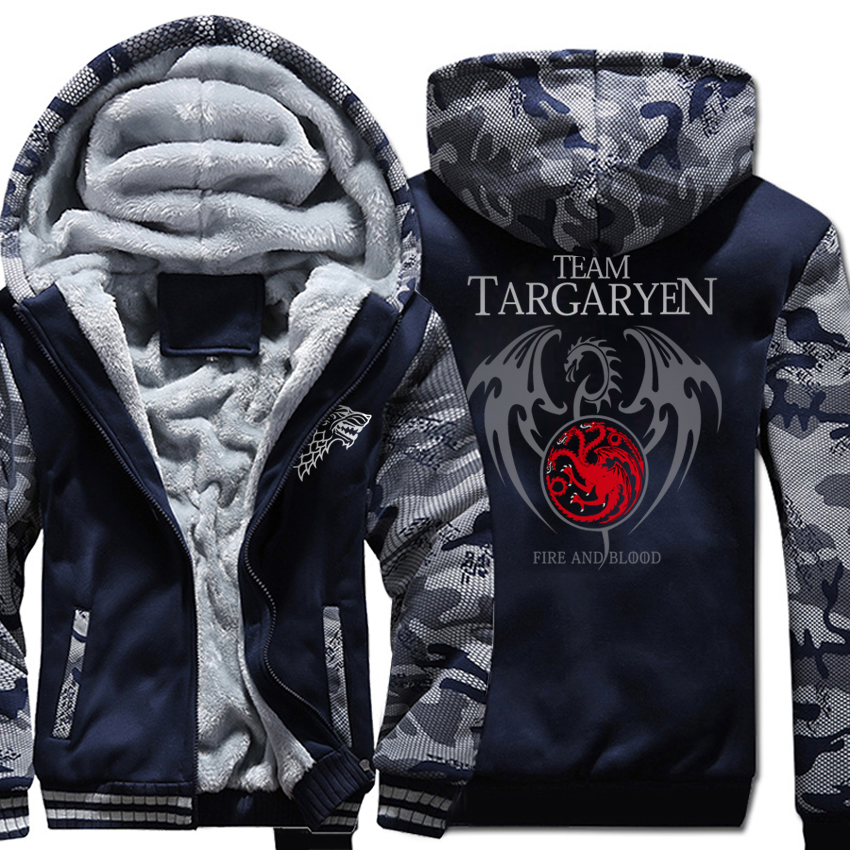 A Song of Ice and Fire Print Hoodies For Male 2018 Thick Zipped Sweatshrit For Men Tracksuits Harajuku Game of Thrones Hoodie
