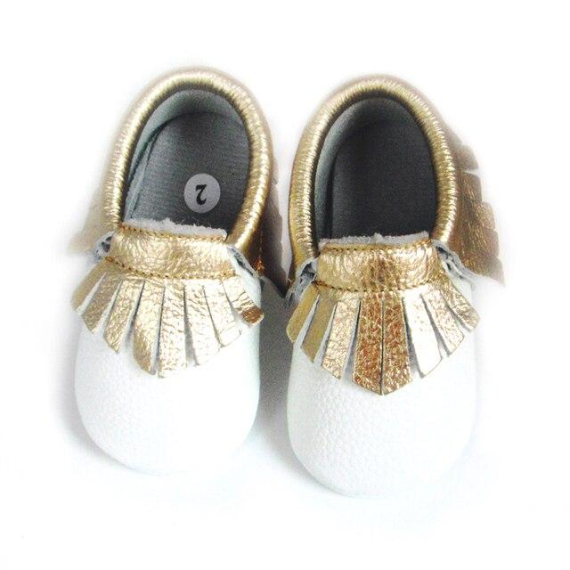 Натуральная Кожа Детские Мокасины золото кисточкой белые туфли босоножки Детские мокасины fringe Первый Ходок Chaussure новорожденных обувь