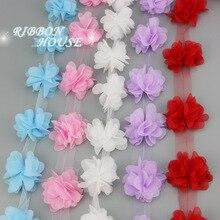 Cinta de encaje de gasa, pétalos de 50mm, decoración de regalo de amor, artesanías, 60 unids/lote