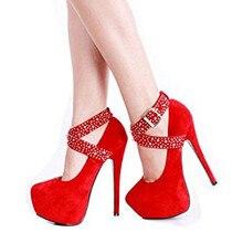 Amy. Q Mode High Heel Strass Frau Schuhe Frühjahr Und Herbst Sexy Roten Schuhe Für Frauen Hochzeit Women'sShoes Plus Größe