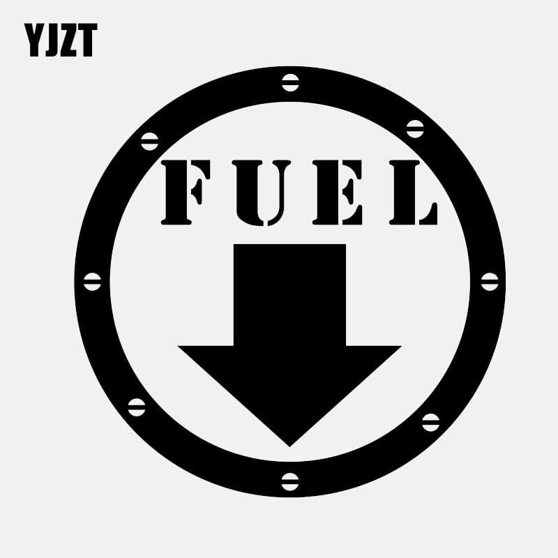 YJZT 12CM*12CM FUEL DOOR GAS TANK COVER VINYL DECALS CAR STICKERS Black/Silver C3-0736
