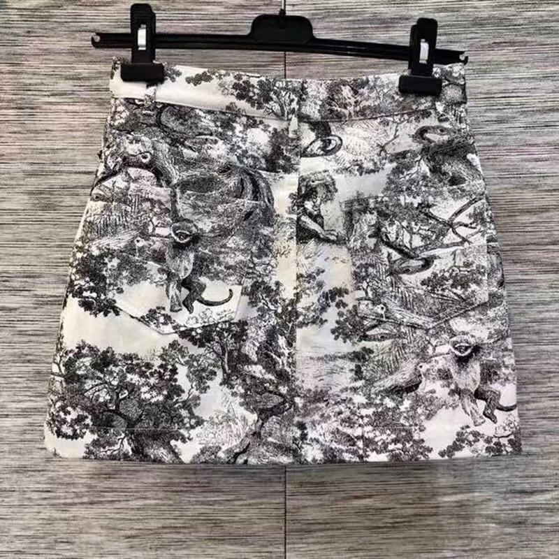 Élégante ligne Femme A Pour Jupe Femmes Casual Haute Nouvelle Mode Empire Noir Jupes Imprimé 2019 Taille FROqSOz4