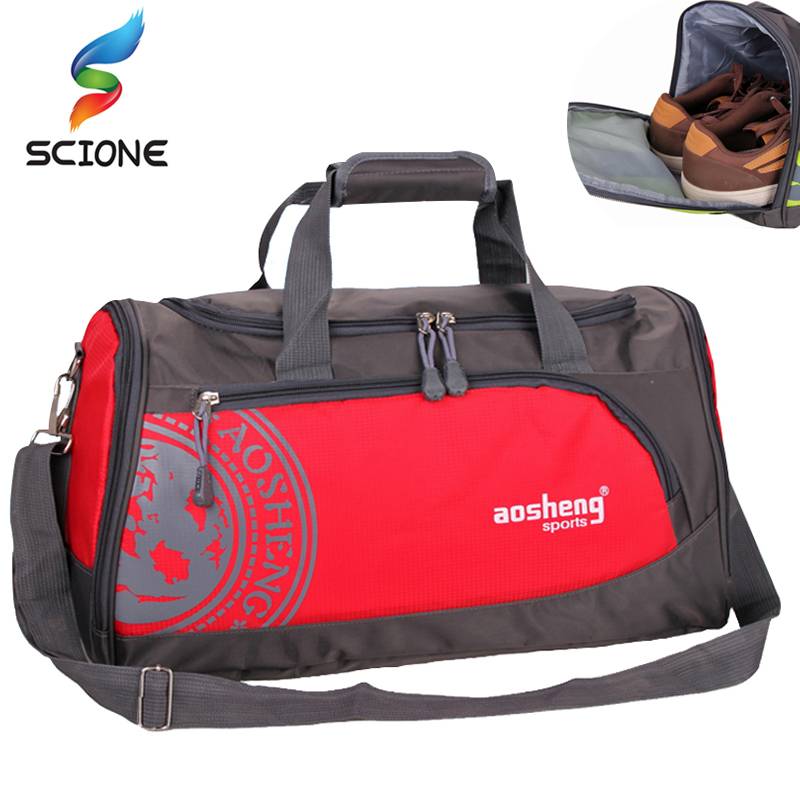 все цены на Hot Nylon Outdoor Sports Gym Bag Professional Men Women Fitness Travel Handbag Hot Training Female Yoga Duffel Shoulder Bag