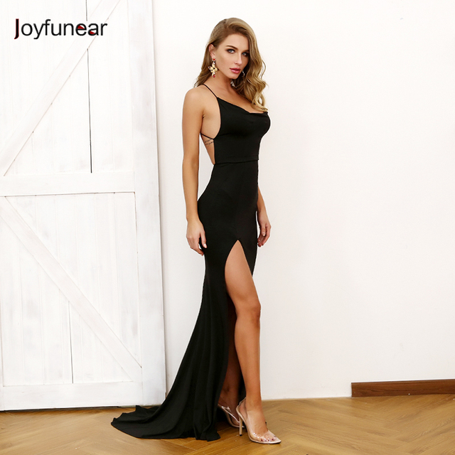 0334c0ad Joyfunear Sexy Black High Split Dress Women Backless Floor Length Dresses  Sleeveless Long Summer Dress Evening Party Vestidos