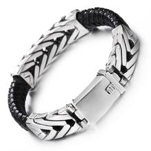 Granny Chic 14mm 22cm Stainless Steel Leather Bracelets & Bangles Black Layers Cowhide Braid Rope Gothic Design Men Jewelry