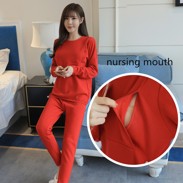 Velvet Winter Nursing Sets Comfy Sleepwear New Maternity Pijamas Breastfeeding  Nightwear for Pregnant Women Nightgowns Warm C168 87a95db90