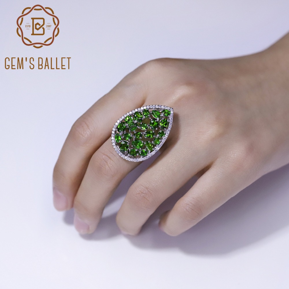 GEM'S BALLET 100% 925 Sterling Silver Gemstone Rings 5.61Ct Natural Chrome Diopside Cocktail Ring for Women Wedding Fine Jewelry