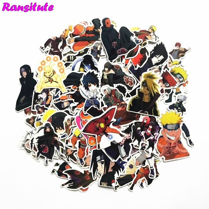 R135 63pcs set Naruto Anime Cartoon Sticker DIY Luggage Laptop Skateboard Car Motorcycle Bike Sticker