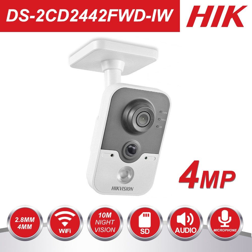 Wireless IP Camera 1080P DS-2CD2442FWD-IW 4MP Indoor IR Cube WiFi Home Security Camera Remote View Support