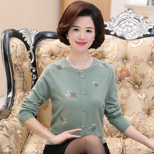 цена на 2019 New Top Selling Spring Middle Aged Women Sweater Tops Fashion Knitted Long Sleeve Printed Plus Size Casual Cardigan Sweater