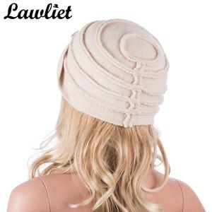 Image 3 - Elegancki 1920s styl kapelusze damskie zimowe Beret czapki Beanie dla kobiet wiadro Cloche Cap 100% gotowane wełny ciepłe kapelusze A376