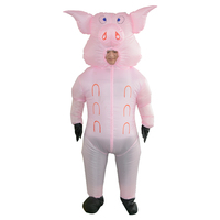 Animal Inflatable Pig Costume Adult Fancy Dress Anime Cosplay Halloween Costumes For Women Man Pink Pig Inflatable clothes