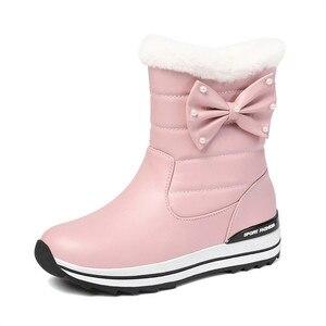 Image 2 - MORAZORA 2020 جديد وصول النساء حذاء من الجلد مقاوم للماء عدم الانزلاق الثلوج الأحذية الدفء بسيطة أحذية الشتاء غير رسمية امرأة حذاء مسطح
