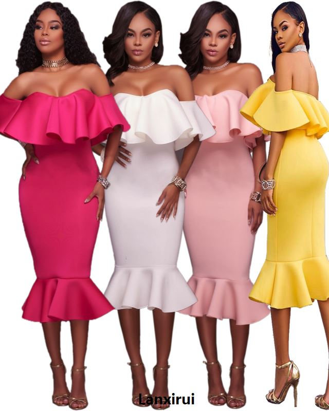 Newest Design Rose/Green/White Off Shoulder Strapless Ruffles Midi Dress Hot Sexy Woman Night Out Wear Fish tail Dresses Online