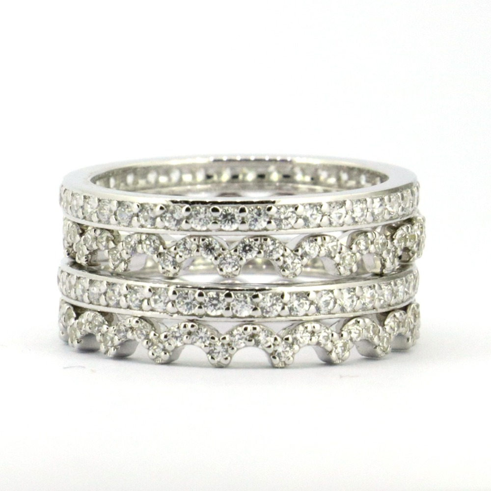 Wellmade Solid Sterling Silver&Cz Wedding Ring