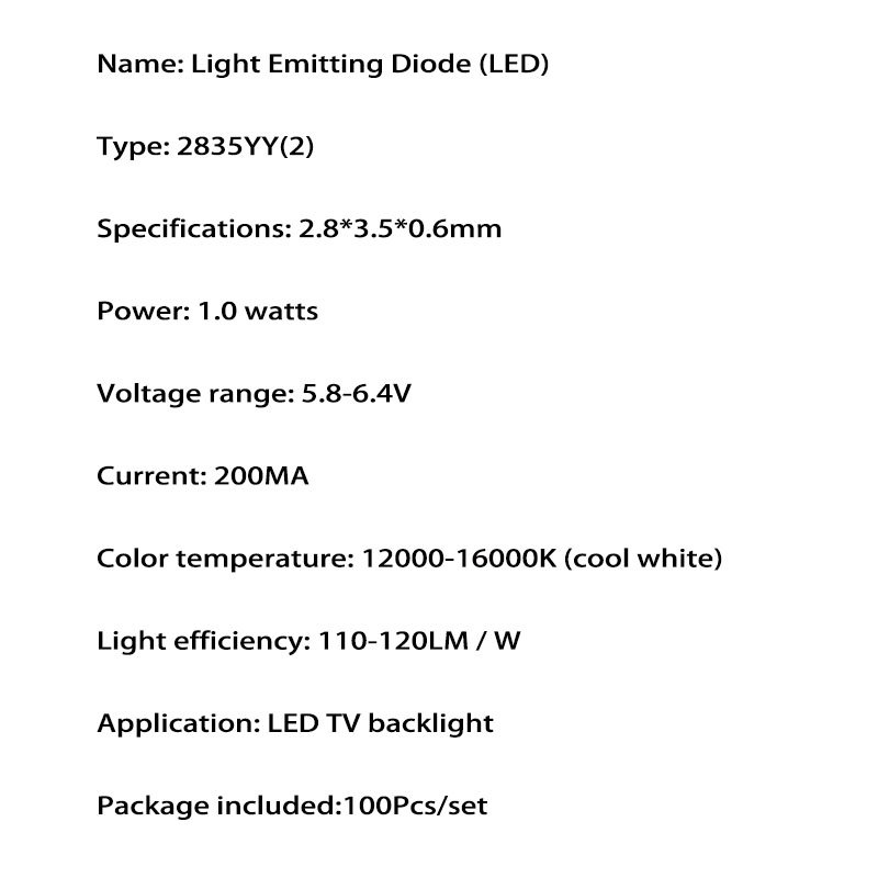 YONGYUEKEJI 100pcs lot highlight 2835 6v 200ma 1w cool white led tv backlight beads for repair led lcd tv light bar hot in Light Beads from Lights Lighting