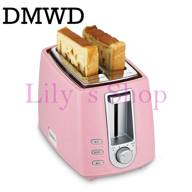 DWMD Stainless steel electric toaster household automatic baking bread maker breakfast machine toast sandwich grill oven 2 slice stainless steel household portable electric toaster breakfast machine automatic bread baking maker fried eggs boiler frying pan