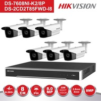 Оригинальный Hik 8-канальный POE NVR комплект видеонаблюдения Системы DS-7608NI-K2/8 P 4 шт Открытый 8MP цилиндрическая POE IP Камера DS-2CD2T85FWD-I8