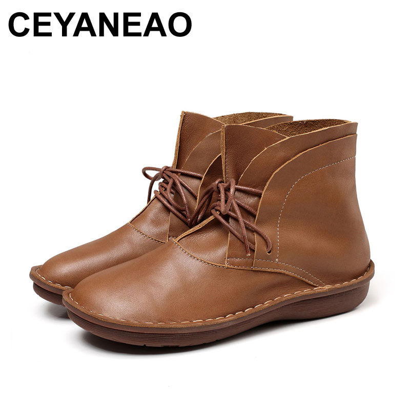 CEYANEAO 2018 New Women Shoes Lace-Up Design Genuine Leather Boots Round Toe Handmade 0508