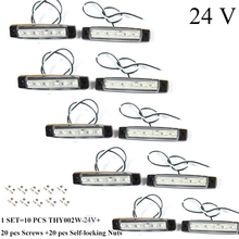 10 PCS AOHEWEI 12 V  LED white front side marker light indicator position lamp with reflector for trailer truck lorry RV