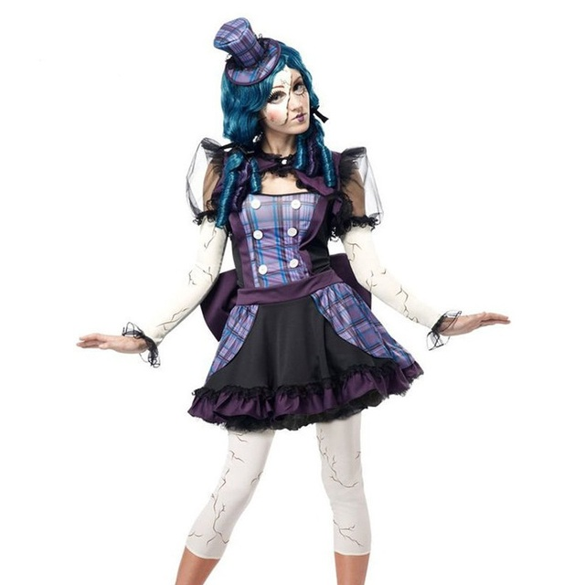new halloween costume high quality teen girls broken doll clowns circus costume sexy wonder woman costume
