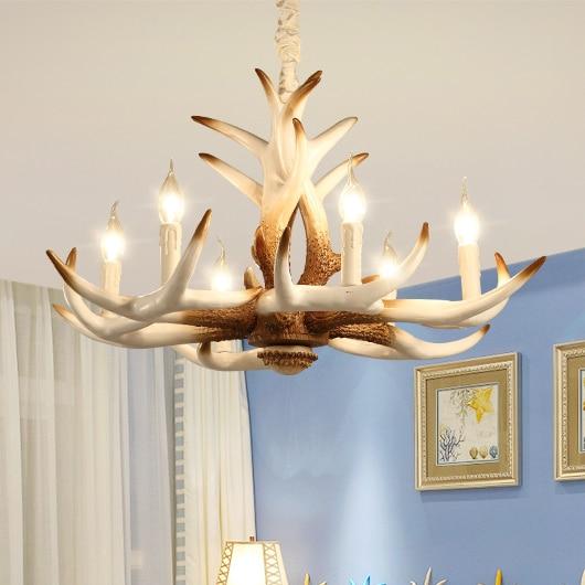 American Vintage White Deer Antler Pendant Lights Fixture Home Indoor  Dining Room Bedroom Pendant Lamp Restaurant