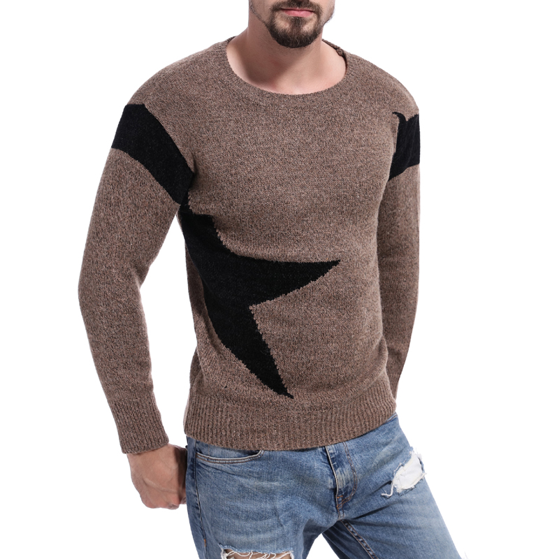 Men Casual Sweater Color Matching Round Neck Pullover Loose Simple Oversided Tops Men's Clothes M-XL