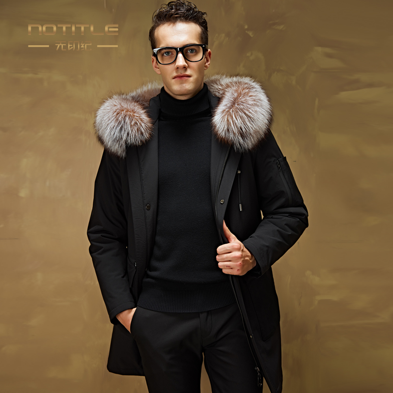 New Arrival Winter Male Business Hooded Casual Coat Detachable Rabbit Liner Medium-long Large Fox Fur Collar Thick Outerwear 2017 winter new clothes to overcome the coat of women in the long reed rabbit hair fur fur coat fox raccoon fur collar