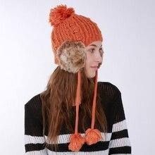 New Fashion  Women Winter Warm Hat Soft Knit Beanie Hats Ear Cap With Hot Earmuff + Top Ball   Women's Clothing & Accessories