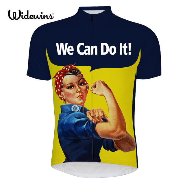 new cartoon we can do it cycling jersey short sleeve blue funny cycling shirt yellow bike wear we can do it bike clothing 6509