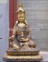 001560 Тибетский эзотерический Буддизм Бронзовый Gild кагью секта красные Шапки Падмасамбхавы