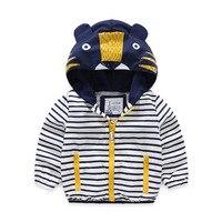 Baby Boys Outerwear Spring Autumn 2018 Children Clothing New Jackets Boys Korean Hooded Zipper Kids Cartoon Topcoat Striped Tops