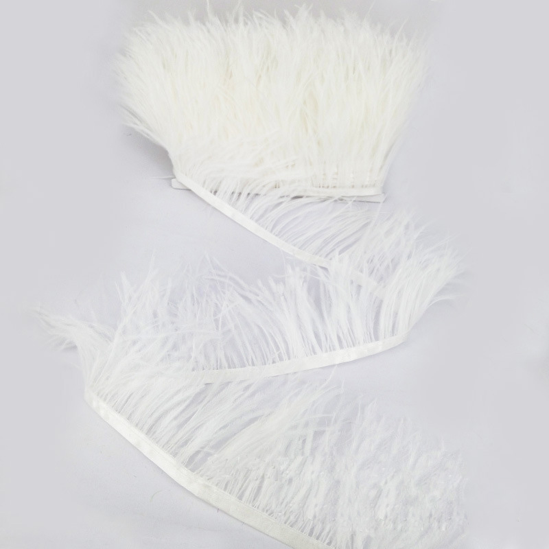 Woosee Hot Sale Dyed White Ostrich Feather Fringe Trims 1 yard 8-10cm Natural Ostrich Feather Ribbon for Skirt Costume Dress