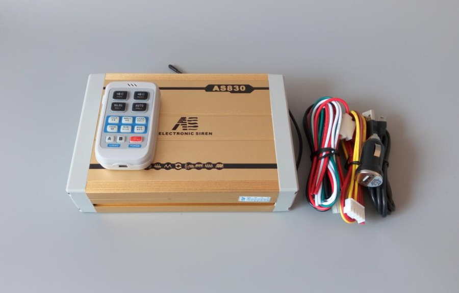 ФОТО AS830 High power DC12V,300W wireless car warning alarm amplifiers with remote for police ambulance(without speaker)