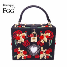 PU Embroidery Red Rose Flower Beaded Fashion Women Shoulder Handbags Messenger Crossbody Bags Evening Totes Bag Box Clutch Purse