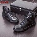 Nueva Llegada de Los Hombres de Remaches de Cuero Genuino de Alta-Top Zapatos Casuales Zapatos de Hombre Pisos Zapatillas Zapatos de Baile Zapatillas de Lujo Hombre
