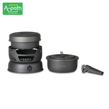 2-4 person outdoor camping cookware Anodized Aluminum Stainles  10 piece alcohol stove picnic Flambe pan pot set