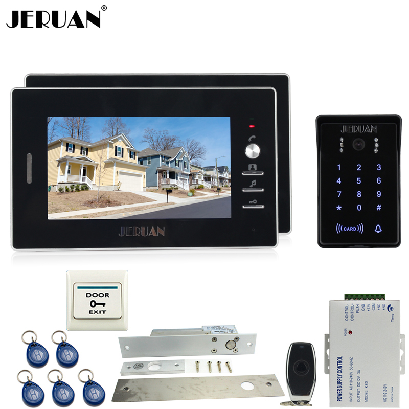 JERUAN 7`` video door phone intercom Entry system Kit RFID waterproof touch key password keypad access camera +remote control jeruan new 7 video intercom entry door phone system 1monitor 700tvl touch key waterproof rfid access camera remote control