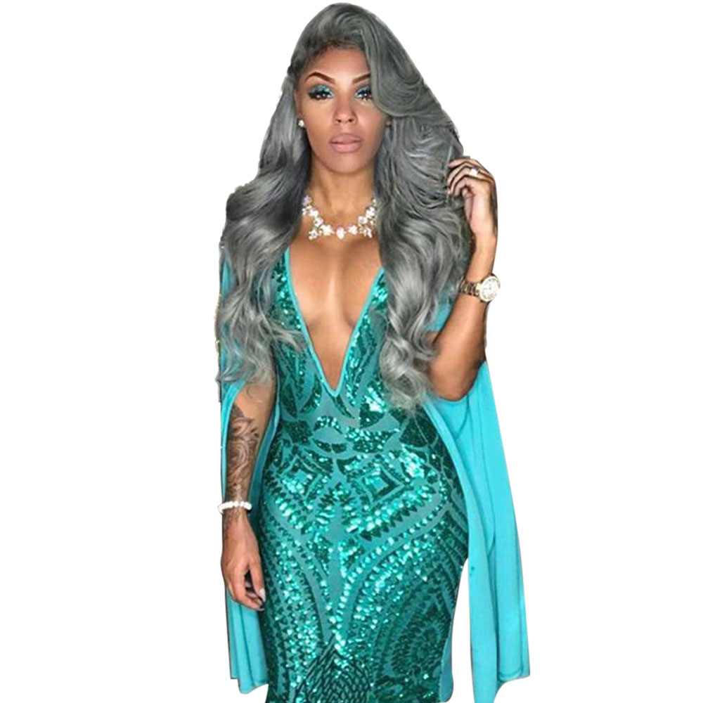 2f35ba9f3933a US $17.99 |Sexy Club Dress 2017 Autumn Women Long Sleeve Cloak Cape Bodycon  Sequin Dress Sexy Blue Deep V Neck Party Club Sequined Dress-in Dresses ...