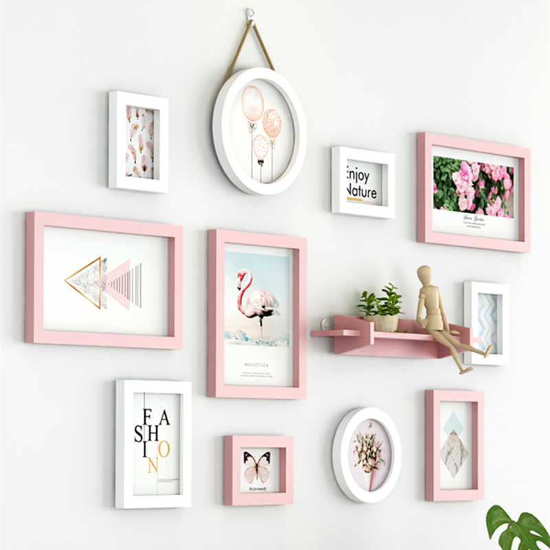 New Pink White Colour Sweet Theme Wall Hanging Photo Frames Set 11pcs Quality Picture Frames Suit Home Decoration Photo Frame