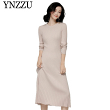 YNZZU Autumn Winter long sleeve women knit dresses 2019 Round neck warm Slim  female sweater dress Casual vestidos YD280