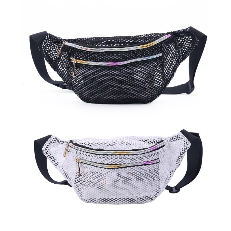 Mesh Translucent Fashion Waist Bag Water Resistant Adjustable Fanny Pack Unisex