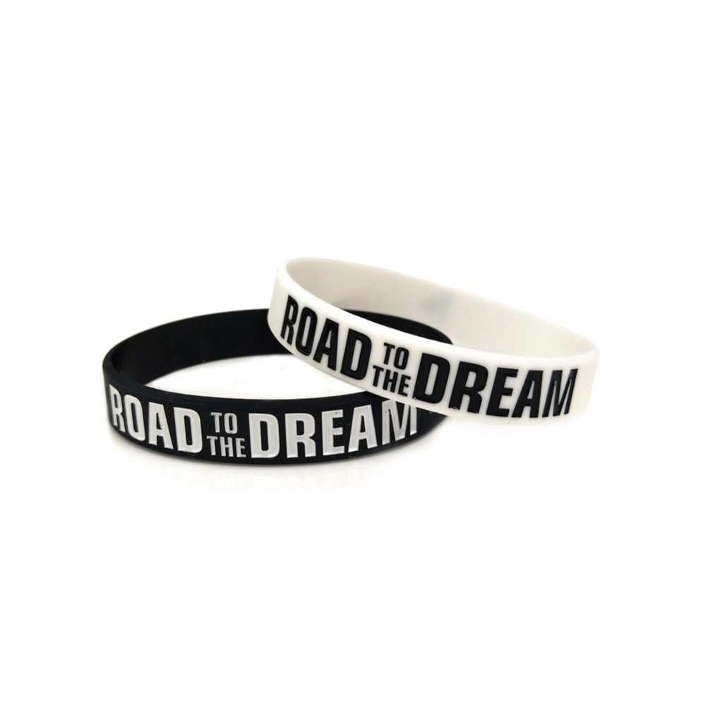 """Road to the Dream""Motivational Bracelets Silicone Rubber Band Elastic Wristbands Jewelry Inspirational Bracelets Gifts"