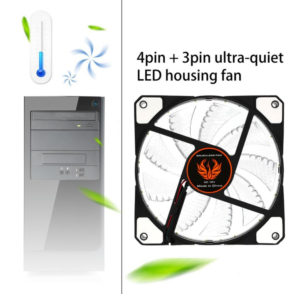Low Noise <font><b>120mm</b></font> LED Ultra <font><b>Silent</b></font> Computer PC Case <font><b>Fan</b></font> 15 LEDs <font><b>12V</b></font> With Rubber <font><b>Quiet</b></font> Molex Connector Easy Installed <font><b>Fan</b></font> Wholesale image